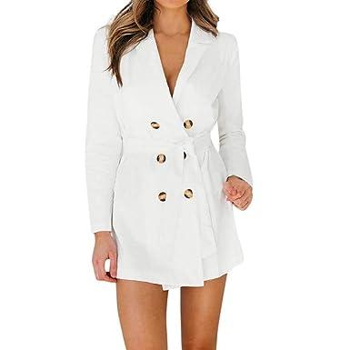 c3317c9b2cd MEIbax Femmes Dames Manches Longues Bouton Solide Élégant Duster Blazer Veste  Manteau Trench-Coat Femme