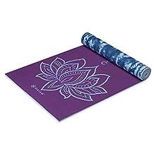 Gaiam Print Premium Reversible Yoga Mat, Purple Lotus, 5mm
