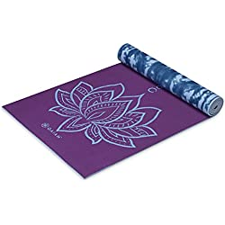 Gaiam Premium Print Reversible Yoga Mat, Purple Lotus, 6mm