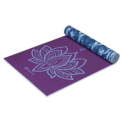 Gaiam Premium Print Reversible Yoga Mat, Purple Lotus, 5mm