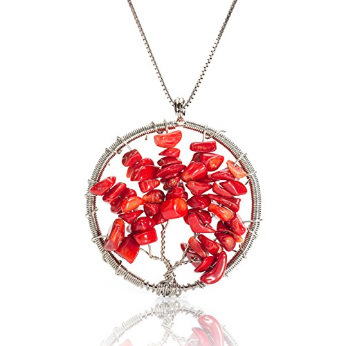 """Red Coral Gemstone Pendant (EDENKISS Set Of 3 Handmade Tree Of Life with Gravel Gem Stone Charm Pendant DIY Necklace 18"""" 24"""" 30"""" Chain (Red Coral))"""