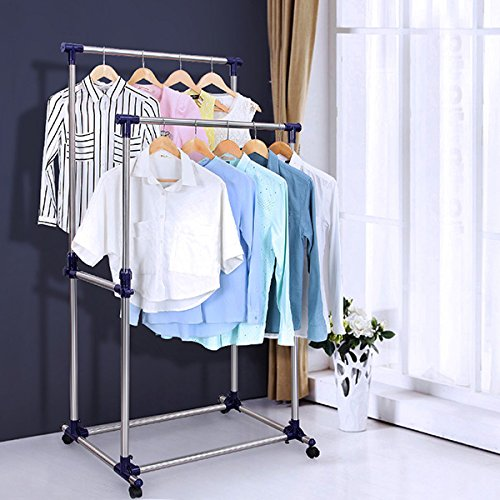 SONGMICS Double Rod Adjustable Rolling Clothes and Garment Rack