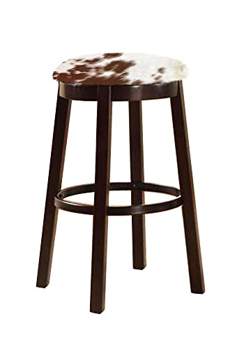 The Furniture Cove Western Style 24 Tall Espresso Wood and Metal Bar Game Room Kitchen Swivel Bar Stool with Your Choice of an Authentic Cowhide Covered Seat Cushion Medium Brown Dapple