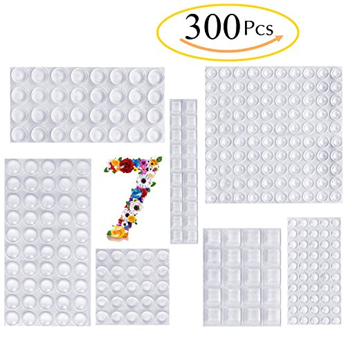 Self Adhesive Bumper (Clear Rubber Feet Bumpers Pads 300 Pieces Self Adhesive Transparent Stick Bumper Noise Dampening Buffer Bumpers For Door Drawer Self Stick Cabinet-MOZOLAND)
