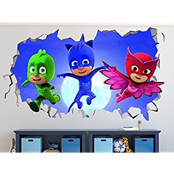 PJ Masks Jumping Out Smashed 3D Wall Decal Sticker Vinyl Decor Door Window Poster Mural Movie Games - Broken Wall - 3D Designs - R38 (Small (Wide 22