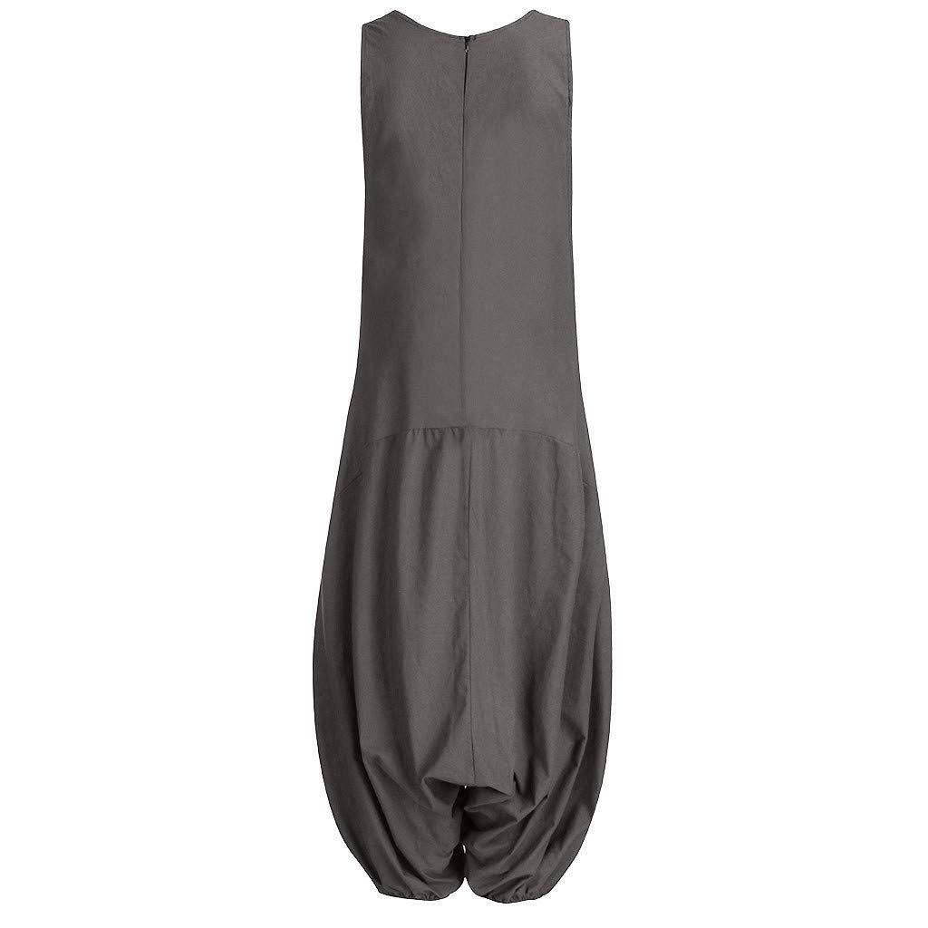 Loose Pantalon Sarouel Baggy Longue Jumpsuit Rompers Coupe Droite Pantalon Casual Trousers en Vrac Pants Pantalon de Travail MerryDate Combinaison Femme /Ét/é sans Manches Salopette Grande Taille