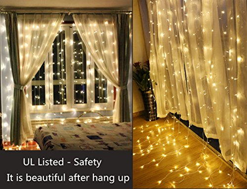 DLIUZ UL Safe 304 LED 9.8Feet Connectable Curtain Lights Icicle Lights Fairy String Lights with 8 Modes for Wedding Party Family Patio Lawn Decoration by DLIUZ (Image #6)