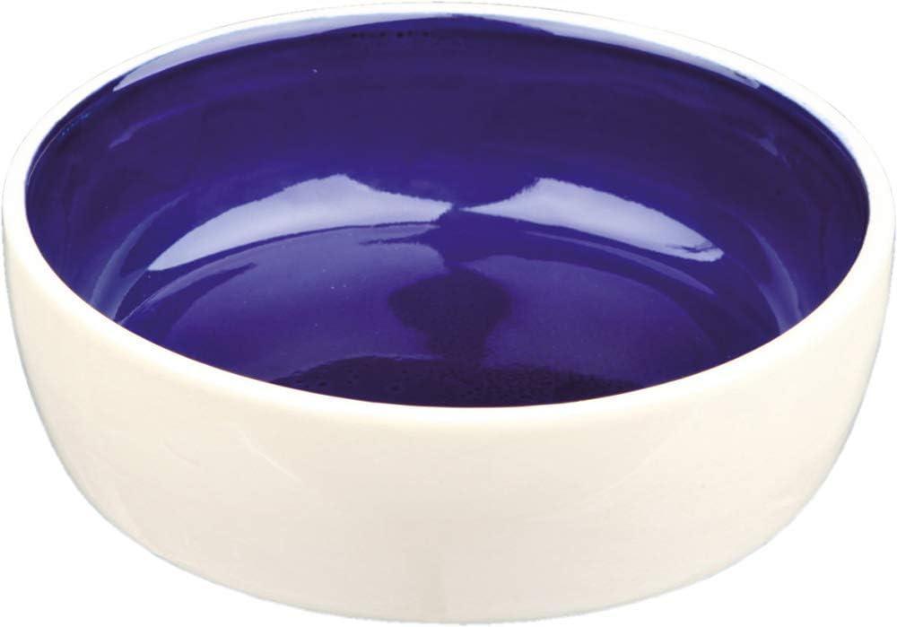 TRIXIE Comedero Cerámica Gatos, 0.3 l, ø12 cm, Crema-Azul, Gato
