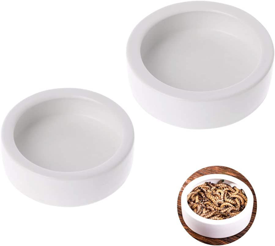 2 Pack Reptile Food Bowl Lizard Gecko Food Water Dish Bearded Dragon Feeding Dish, Ceramics Worm Dish for Lizard Anoles Bearded Dragons Tarantula Crested Gecko Hermit Crabs Triangular Leopard Gecko Ch