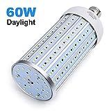 60 Watt LED Corn Light Bulb(450W Equivalent),LED Garage Light 5500 Lumen 6000K,Daylight White Street and Area Light,E26 Medium Base,for Outdoor Garage Warehouse Backyard and More