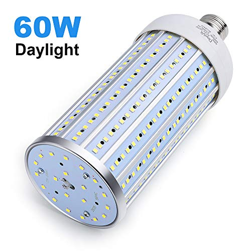 60 Watt LED Corn Light Bulb(450W Equivalent),LED Garage Light 5500 Lumen 6000K,Daylight White Street and Area Light,E26 Medium Base,for Outdoor Garage Warehouse Backyard and More (Light Bulbs House)