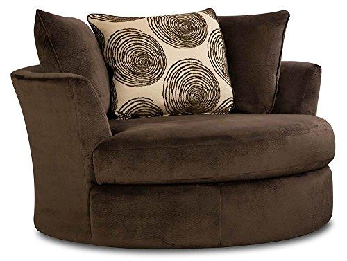 Chelsea Home Furniture Rayna Swivel Chair, Groovy Chocolate/Big Swirl Chocolate (A And Swivel Chair Half)