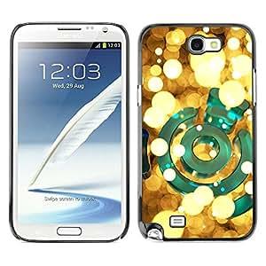 Caucho caso de Shell duro de la cubierta de accesorios de protección BY RAYDREAMMM - Samsung Galaxy Note 2 N7100 - Green Bright Golden Night