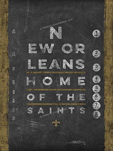 Photo File Eye Chart Vert New Orleans Saints Unframed Poster 12x16 -