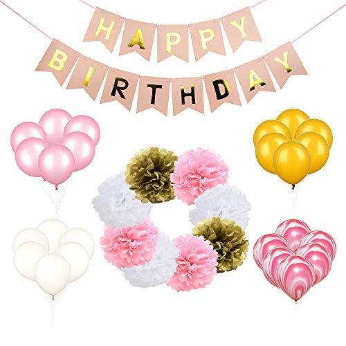 Birthday Girl Decorations Kit Pink and Gold Birthday Decorations Supplies for Girls Bday Party,Including 1 Pcs Happy Birthday Banner | 24 Pcs Balloons | 8 Pcs Tissue Paper Pom Poms (Set of 33)