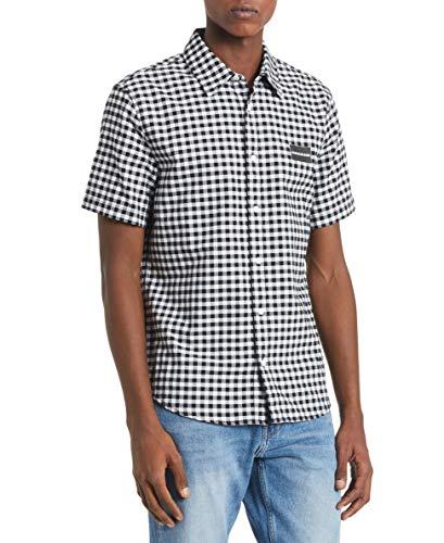 - Calvin Klein Men's Short Sleeve Oxford Button Down Shirt, Black Gingham, X-Large