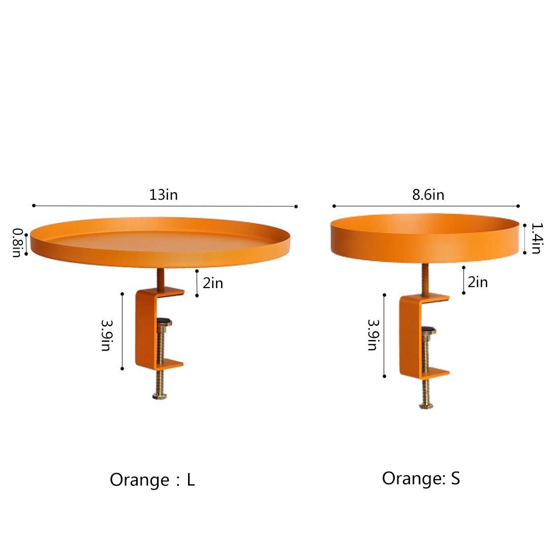ラウンドフラワースタンド収納トレイ/フルーツバスケット/オーガナイザートレイ用コーヒーテーブルカウンタートップバスルーム化粧台トップドレッシングテーブル、デスクトップ防錆鉄素材/高さ調整可能(黄色) B07PYQDDT6  Large