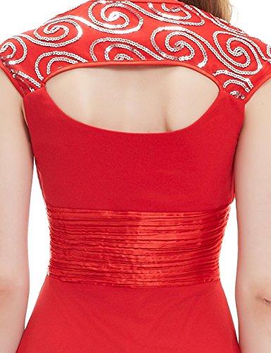 Ever Pretty Damen V-Ausschnitt Lange Chiffon Abendkleider Festkleider 40 Rot EP09672VE08