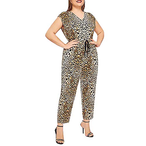 - Women 2 Piece Outfits Sets 2019 Summer Leopard Sleeveless V Neck Junpsuit and Rompers Belted Loose Cropped Pants Plus Size