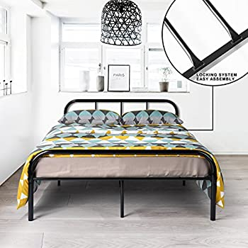 GreenForest Full Size Bed Frame With Headboard And Stable Metal Slats  Boxspring Replacement Double Platform Mattress