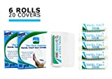Travel Toilet Tissue Paper ( 6 rolls) + Bonus 20 toilet seat covers | Perfect for: Hiking, Camping, Travel, Office and RV.