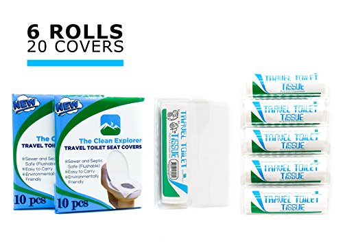 Travel Toilet Tissue Paper ( 6 rolls) + Bonus 20 toilet seat covers | Perfect for: Hiking, Camping, Travel, Office and RV. by The Clean Explorer