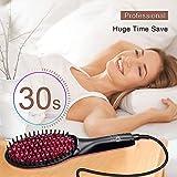 Hair Straightener Brush, Ceramic Heating Negative