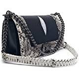 Stingray Mix Snake Genuine Leather Luxury For Lady Shoulder Bag - Black Color