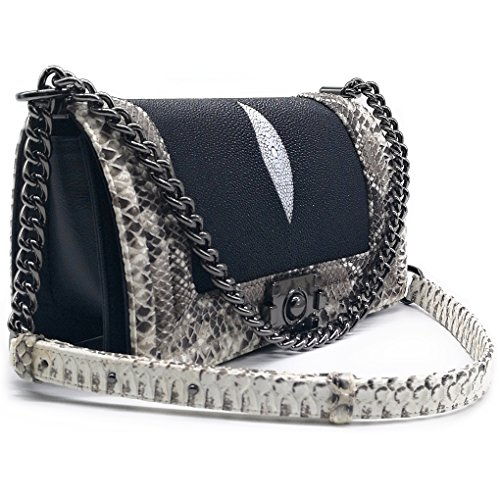 Stingray Mix Snake Genuine Leather Luxury For Lady Shoulder Bag - Black Color by Treasure