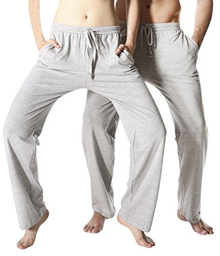 Dolamen Mujer Pantalones de pijama Algodón, Parejas Pantalones Boxeador largo Casual Trunk Ropa de dormir Cintura elástica ajustable bolsillos dormir Tiempo libre Yoga Deportes Gris
