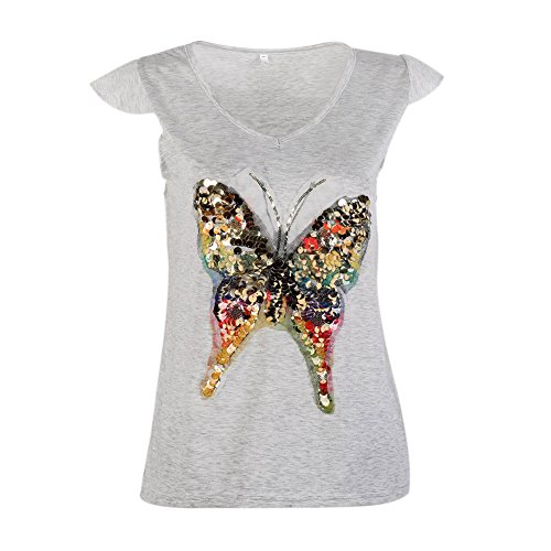 EFINNY Women's Sparkly Sequins Butterfly Print Tank Tops Summer Pullover Blouses Tee (Butterfly Sequin Top)