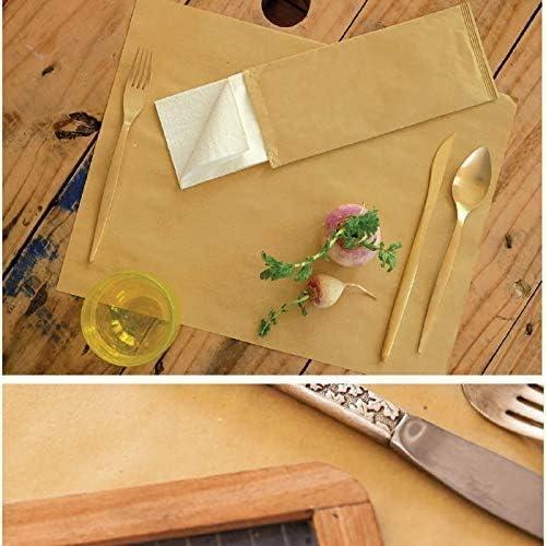 Palucart 125 Buste Portaposate Colore Avana Carta Paglia Dimensioni 10 X 25 Cm Con Tovagliolo Doppio Velo Forchette Casa E Cucina Bepco Ee