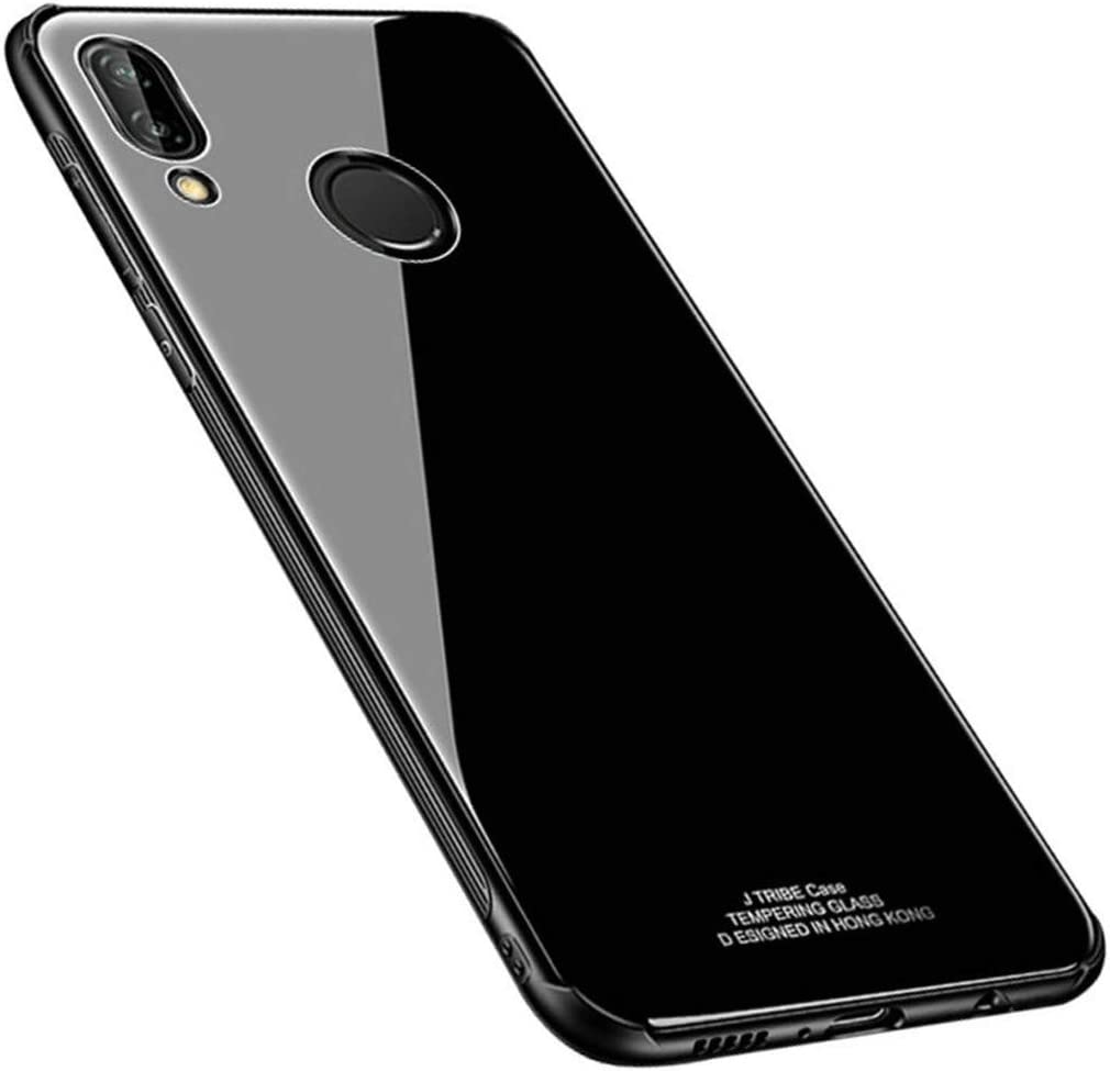 Huawei P20, Black Huawei P20 Case Cover Anti-Scratch Tempered Glass Back Protective Cover Hybrid TPU Silicone Shockproof Anti-Slip Bumper Protection Shell Case for Huawei P20