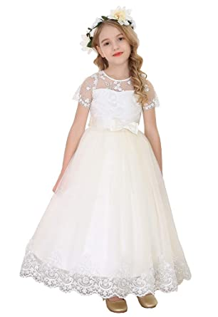 51f0c4f1b Amazon.com: Happy Rose White Lace First Communion Dress Flower Girls ...