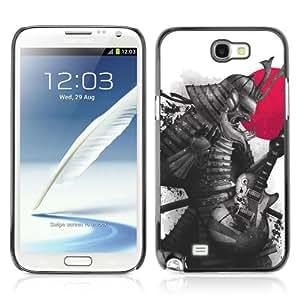Designer Depo Hard Protection Case for Samsung Galaxy Note 2 N7100 / Japanese Samurai Warrior & Guitar