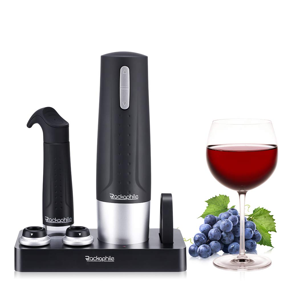 Rackaphile Electric Wine Bottle Opener, Rechargeable and Cordless Wine Opener Corkscrew with Foil Cutter 2 Bottle Stoppers and Wine Vacuum Pump