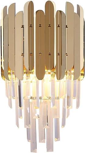 YOOGOO Luxury Gold Wall Sconce Lights Hallway Plating Metal Lighting Fixtures Crystal Column Shade Nordic Wall Lamp Gold
