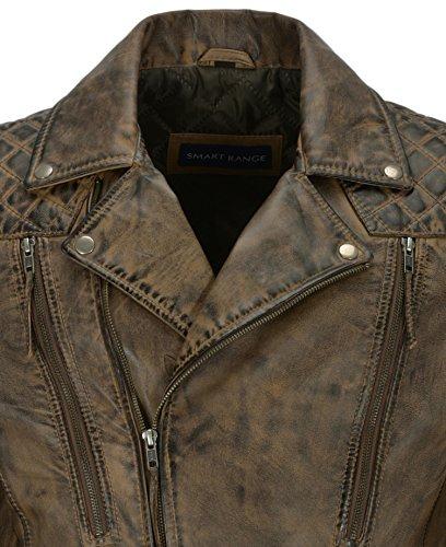 Style Uomo Motorcycle Pelle Fashion Brown Agnello Dirty Napa In Di Da Vera 3205 New Giacca Biker qIpw4P7x