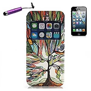 QHY Multicolor Tree Pattern Open the Window PU Leather Full Body with Stylus for iPhone 6 Plus