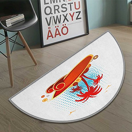 Gull Circle - Suchashome Beach half moon door mats for home Exotic Halftone Background with Circles with Palms Seagulls Tropics Bath Mat Bathroom Mat with Non Slip Vermilion Pale Blue Yellow size:23.7