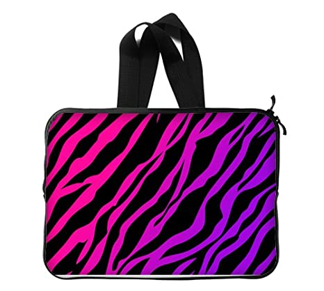Viola Rosa Nero Zebra Stampa Sfondo Custom Laptop Sleeve Case Borsa
