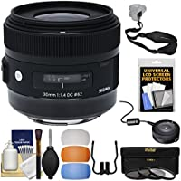 Sigma 30mm f/1.4 ART DC HSM Lens with USB Dock + 3 Filters + Sling Strap + Diffuser Kit for Canon EOS Digital SLR Cameras