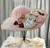 Victorian Wide Brim Velvet Handmade Hat with Flowers