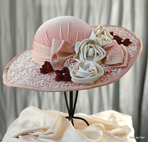 Victorian Wide Brim Velvet Handmade Hat with Flowers by Hats by Gail