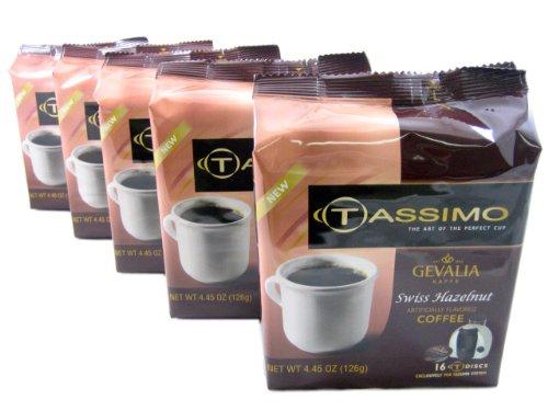 Tassimo T-Discs: Gevalia Swiss Hazelnut Coffee T-Disc Pods (Case of 5 packages; 80 T-Discs Total)