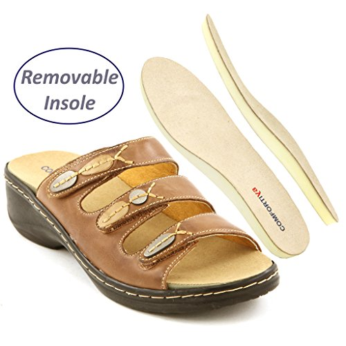 Leather Alice Comfortiya Sandal Women's Tan Slide Casual 8U8rEwx