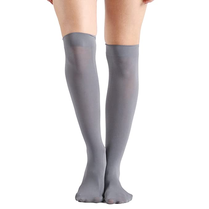 1950s Stockings and Nylons History & Shopping Guide INCHER Womens Opaque Mid-Calf Nylon Socks Knee High Socks 1510 Pairs $14.99 AT vintagedancer.com