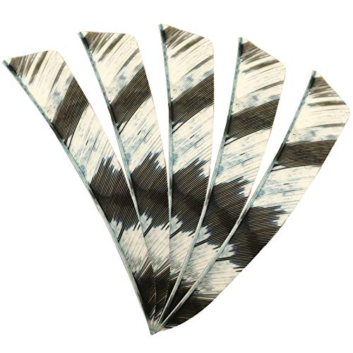 """VERY100 4"""" Right Wing Archery Turkey Feathers Camouflage Color Handmade Shield Shape (White-Black)"""