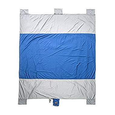 Sand Escape Compact Outdoor Beach Blanket / Picnic Blanket- 7' X 9' 20% Bigger Than Other Blankets. Made From Strong Parachute Nylon. Includes Built In Sand Anchors & Valuables Pocket