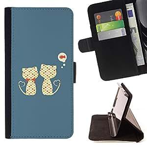 BullDog Case - FOR/Samsung Galaxy S5 Mini, SM-G800 / - / Cute Cats Cat Fish Pattern /- Monedero de cuero de la PU Llevar cubierta de la caja con el ID Credit Card Slots Flip funda de cuer